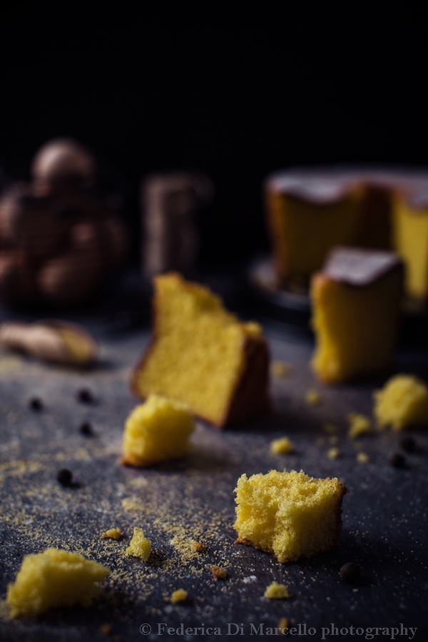 Gluten free, ultra soft sponge cake with corn flour, lemon and allspice