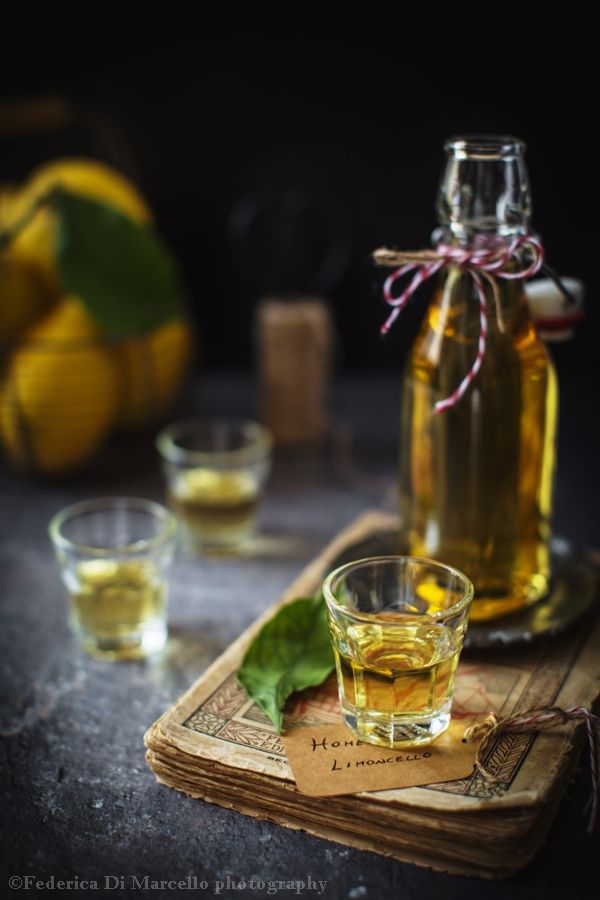 Home-made limoncello: liqueur made from organic lemon peel